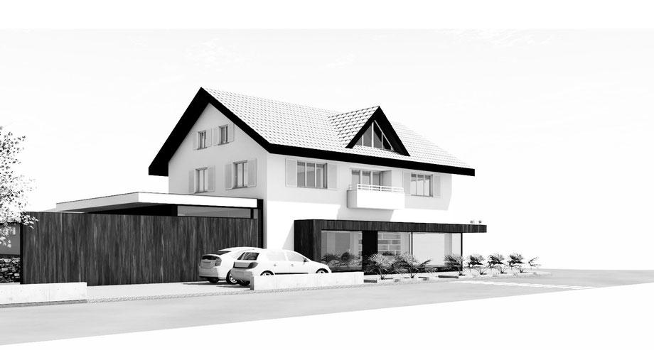 Anbau/Umbau Handwerksbetrieb und Wohnhaus B., Altach