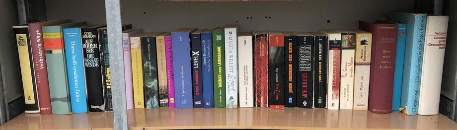 Bücherschrank innen, Bücher untere Reihe