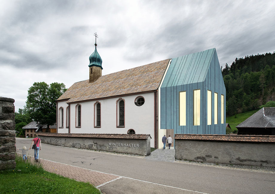Entwurf zum Umbau der Dorfkirche von Spiecker, Sautter, Lauer