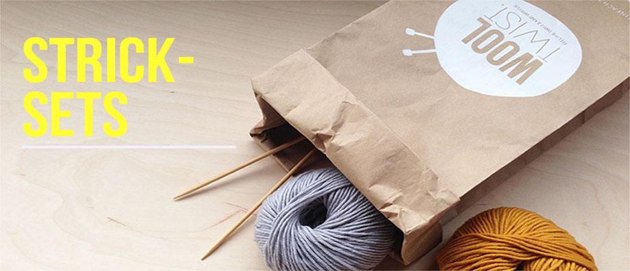 Ein Strickset alles drin: Stricknadeln, Wolle, Strickanleitung