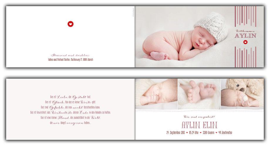 Geburtskarte Geburtsanzeige aus der Schweiz