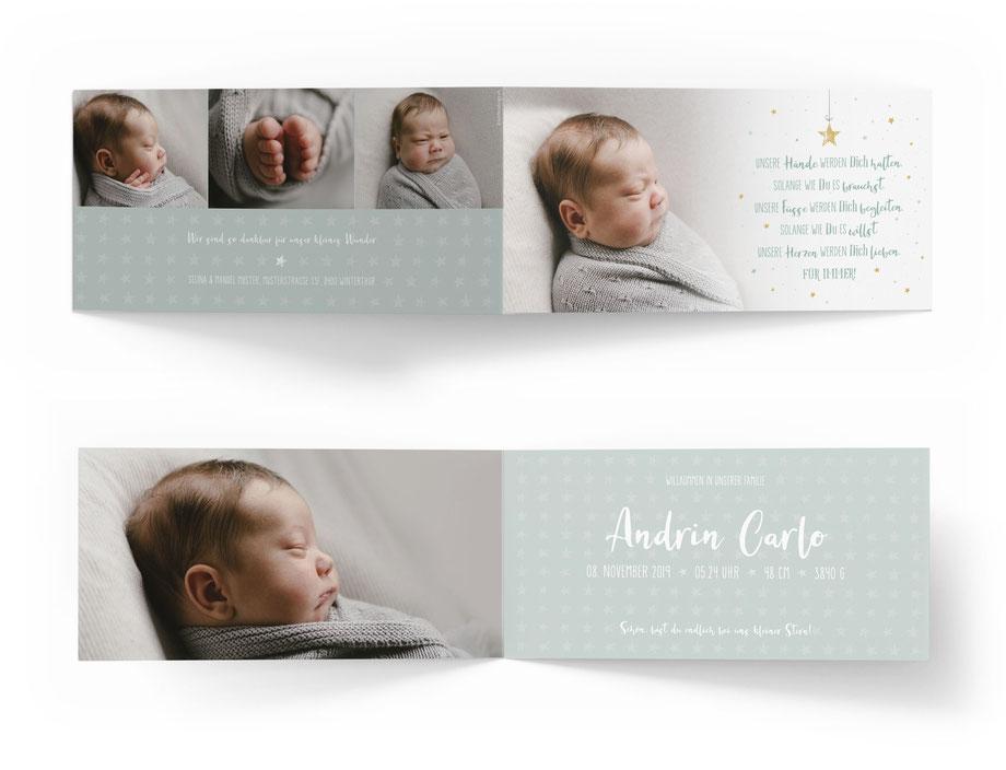 Geburtskarte Geburtsanzeige 4-seitig mit Sternen