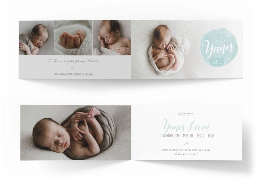 Geburtsanzeige Baby 4-seitig. kartendings.ch