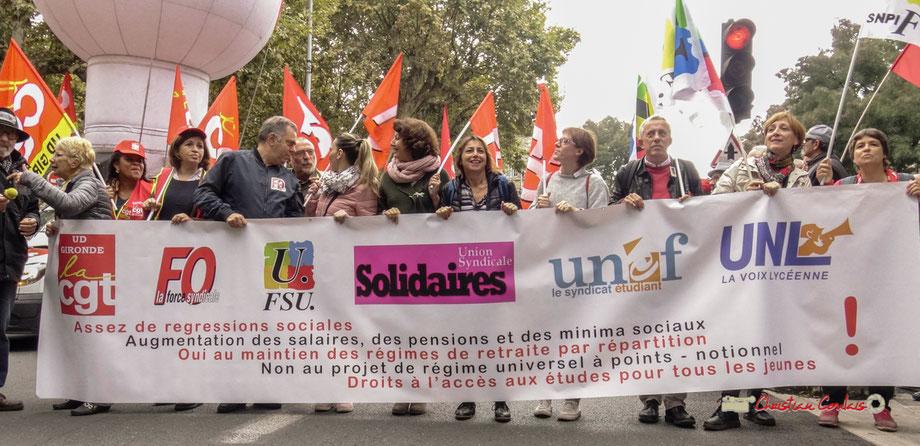 """La plupart des centrales syndicales (C.G.T. ; F.O. ; F.S.U. ; Solidaires ; U.N.E.F ; U.N.L.) avait répondu au mot d'ordre de mobilisation """"Contre la politique sociale d'Emmanuel Macron"""". Mardi 9 octobre 2018, Bordeaux"""