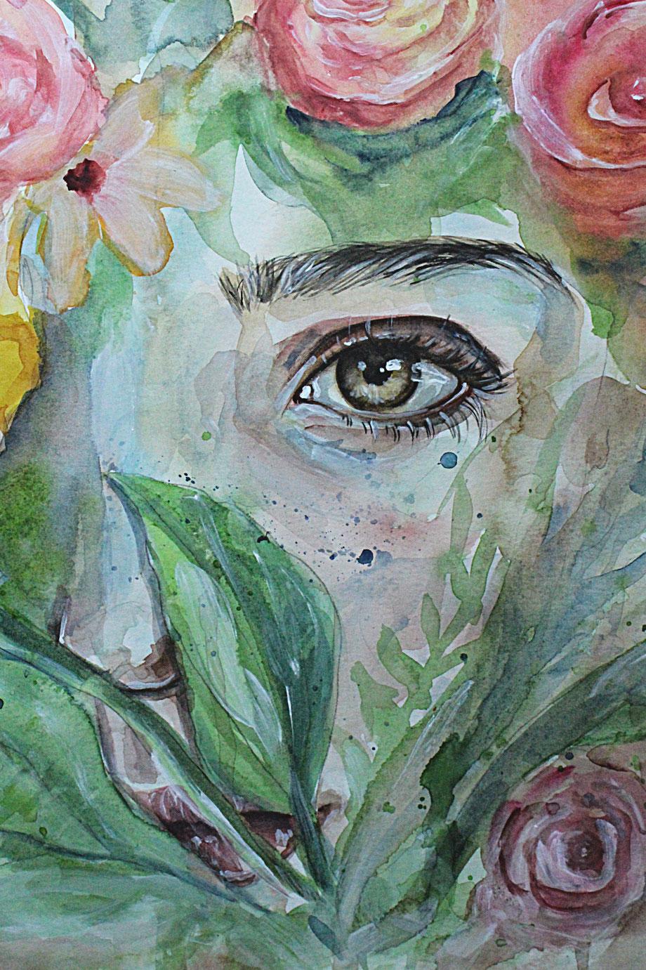 Aquarell watercolor und Acryl Portrait Malerei eines Mädchens mit Auge und floralem Muster