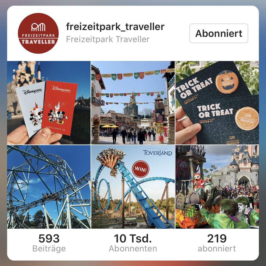 +10.000 Freizeitpark Traveller Follower auf Instagram