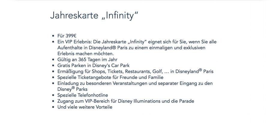 Infinity Jahreskarte Disneyland Paris