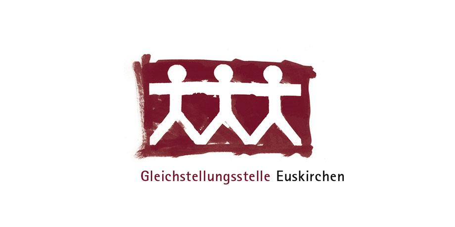 Menschenkette, sozial, Engagement, Gleichstellung, Mann, Frau, städtisch, Logo, negativ, Pinsel, Scherenschnitt