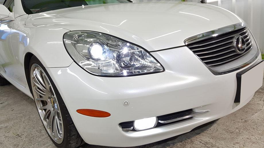 SC430のヘッドライトコーティング完成 埼玉よりご来店のレクサス
