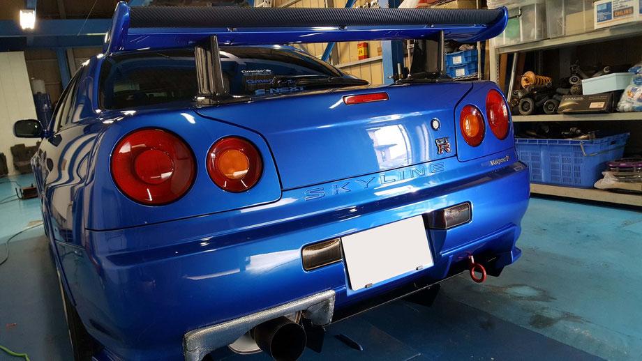 BNR34のコーティングメンテナンス完成 埼玉の車磨き専門店 ベイサイドブルーのボディコーティング