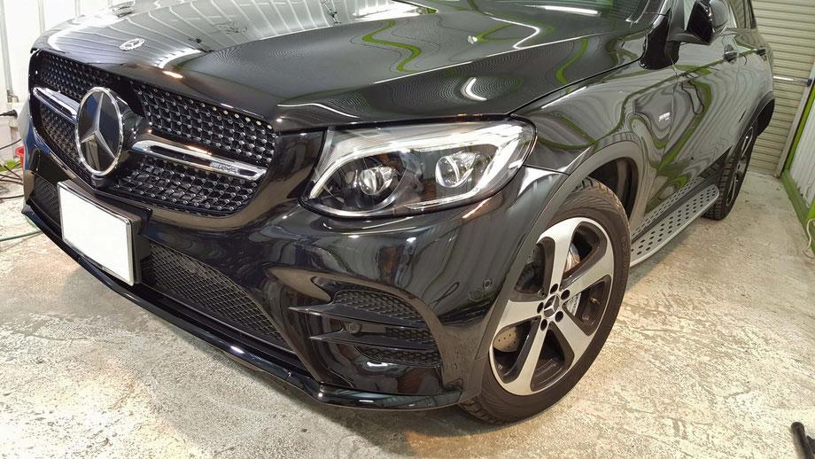 AMG・GLCの磨き後の艶 黒い車のコーティング 黒メタリックの光沢