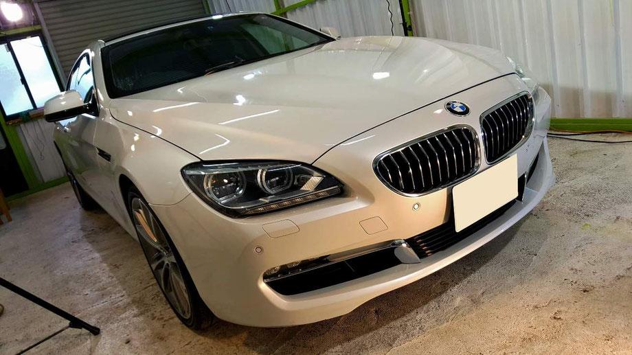 BMW640のナノガラスコーティング アルピンホワイトの艶改善 埼玉の車磨き専門店・アートディテール