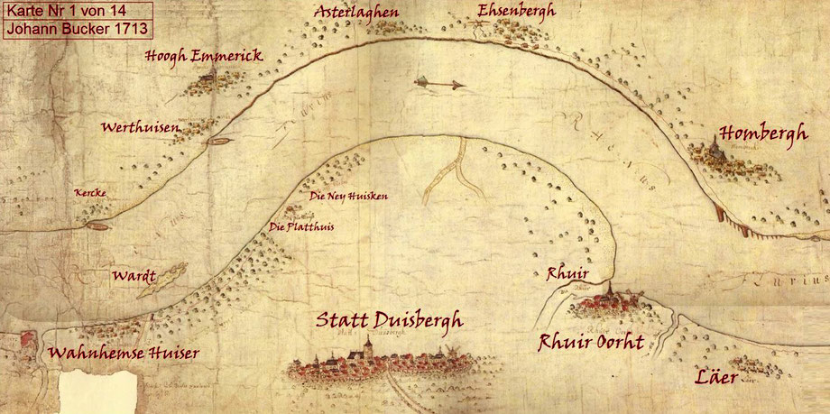 """Quelle: Wikimedia Commons, Johann Bucker, dtsch. Kartograph 1696-1723, Buckers Hauptwerk ist die """"Karte des Rheins von Duisburg bis Arnheim aus dem Jahre 1713"""" Die Karte Nr.1  zeigt u.a. die im Rhein bei Wanheim gelegene Insel (Sandbank) Wardt."""