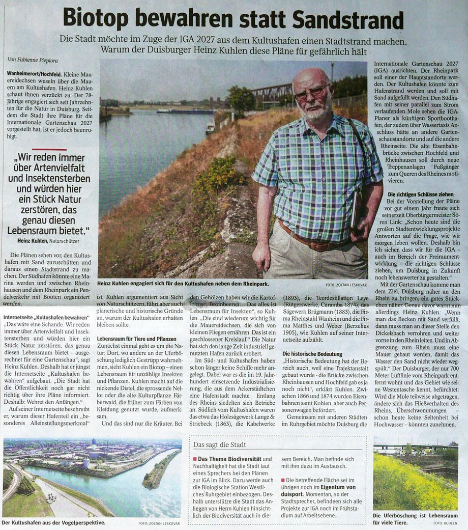 """WAZ/NRZ Pressebericht """"Biotop bewahren statt Sandstrand"""""""