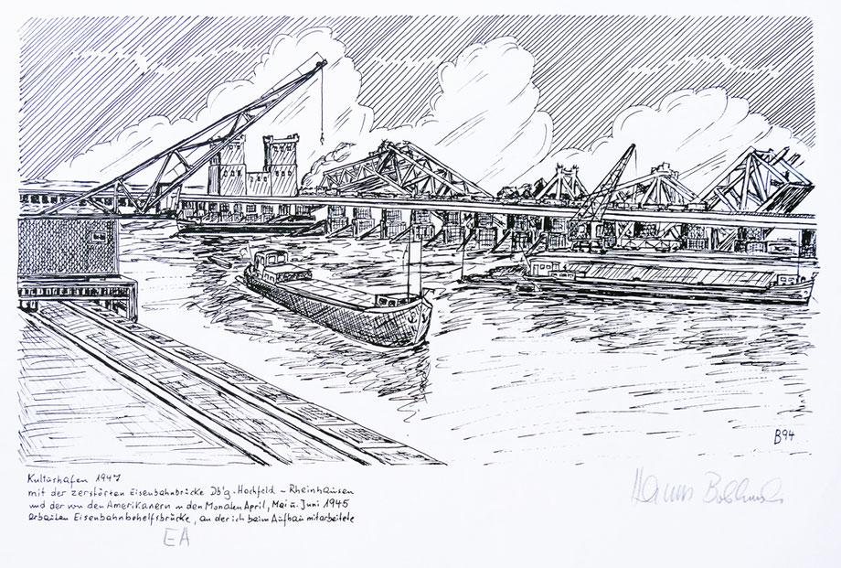 Zeichnung aus der Erinnerung von Hans Bobkowski. Die gesprengte Brücke und die Erstellung der Victory-Bridge. Er hat am Aufbau dieser Behelfsbrücke von April-Juni 1945 mitgearbeitet.