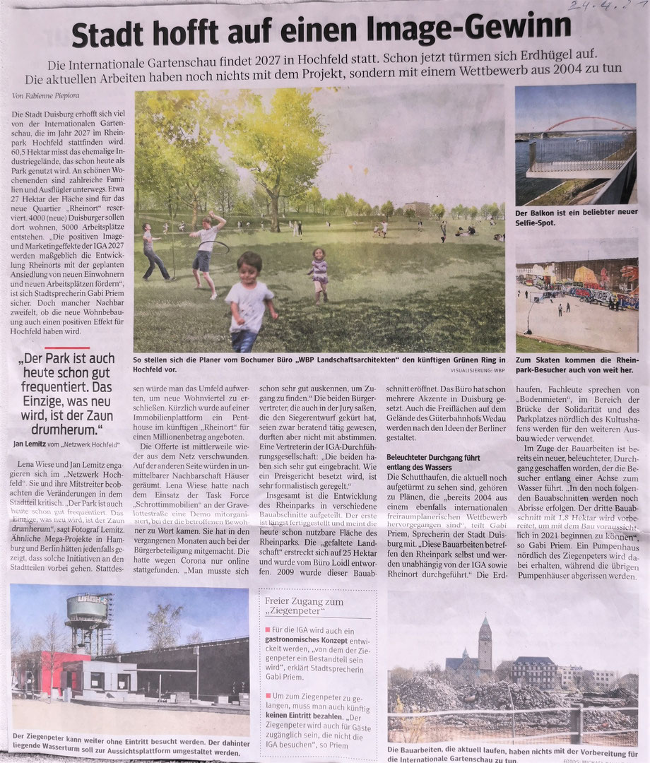 Pressebericht WAZ vom 24.04.2021, 1. Preisträger nach Beschluß der Jury ist das Landschaftsarchitekturbüro WBP aus Bochum