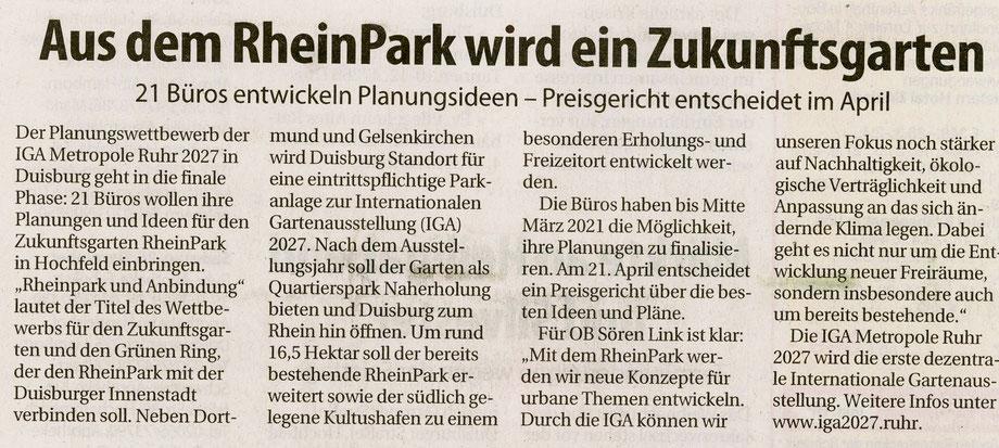 Pressebericht Duisburger Wochenanzeiger 22.12.2020