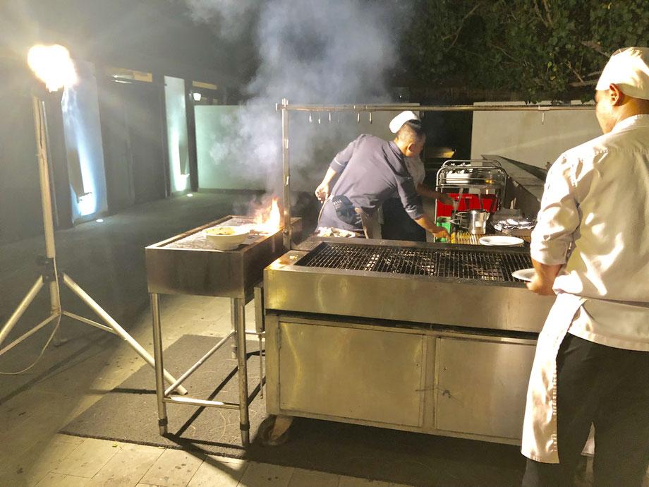 屋外での調理