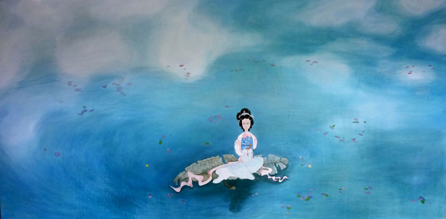 "Floating, Oil on Canvas, 48""x96"" / 天水間, 布面油畫, 122cm x 244cm, 2015"