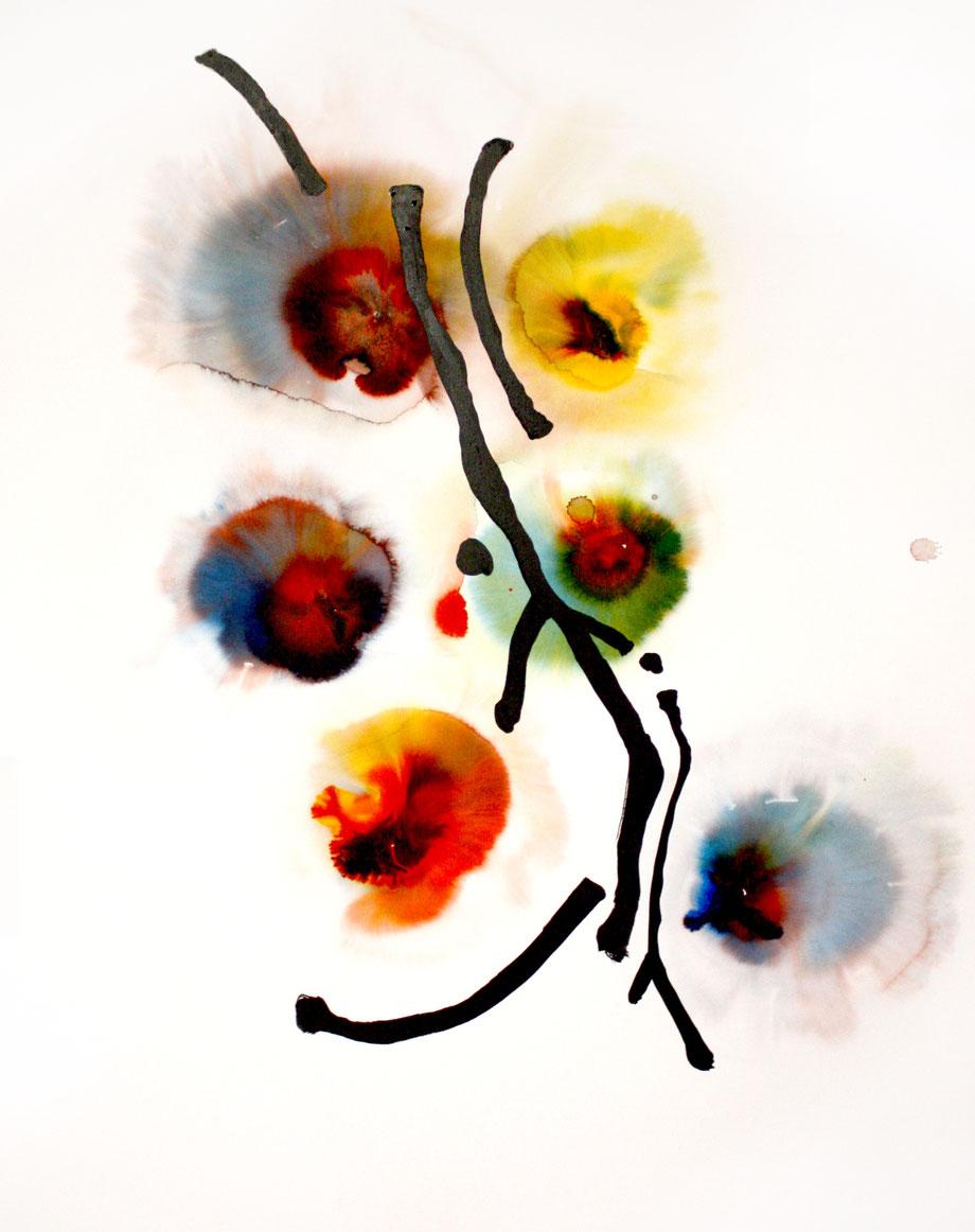 Ohne Titel,  Aquarell und Tinte auf Papier, 90x110cm, 2019