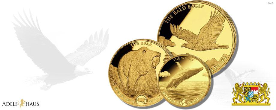 the bald eagle gold Weißkopfseeadler golmünzen set 2021 world wildlife adelshaus