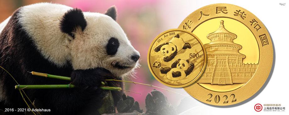 china panda 2022, gold china panda 2022, goldmünzen, adelshaus