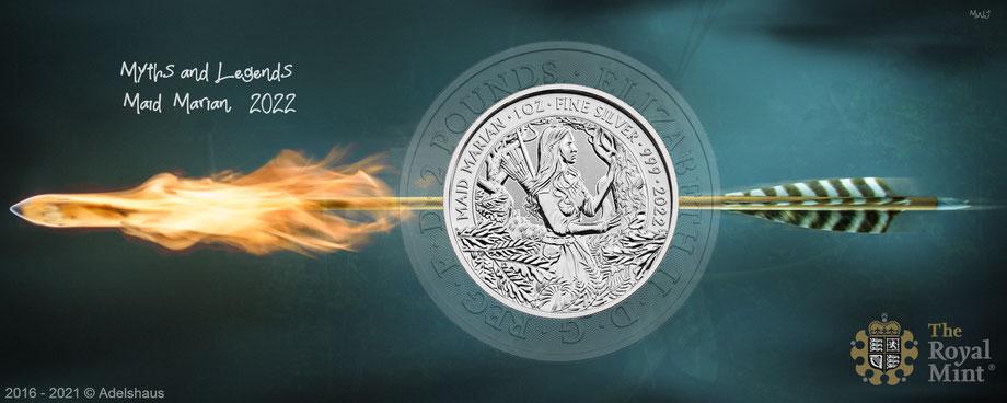 silbermünzen, myths and legends, 2022, 2021, maid marion, robin hood, the royal mint, kaufen silber, adelshaus, adels-haus,