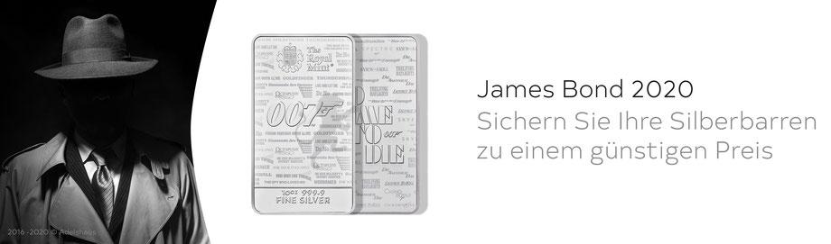 James Bond 007 Silberbarren 1 Unze und  10 Unzen jetz günstig bei Adelshaus erwerben Silber Silberbarren bei Adelshaus günstig kaufen