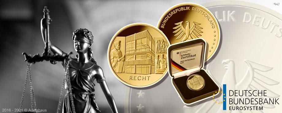goldeuro, 100 euro gold, einigkeit 2020, recht 2021, goldmünzen, deutschland,  edelmetalle ,  deutsche bundesbank, adelshaus