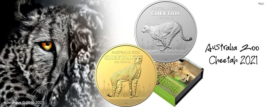 Australien Gepard Gold Silber Cheetah Zoo 2021 goldmünzen silbermünzen kaufen adelshaus
