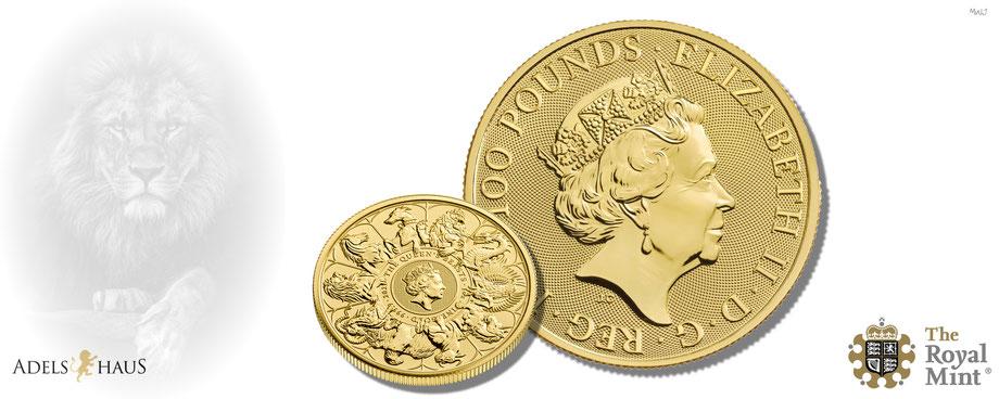 queens beasts 2021 gold silber greyhound  horse lion münzen completer coin edelmetalle  adelshaus