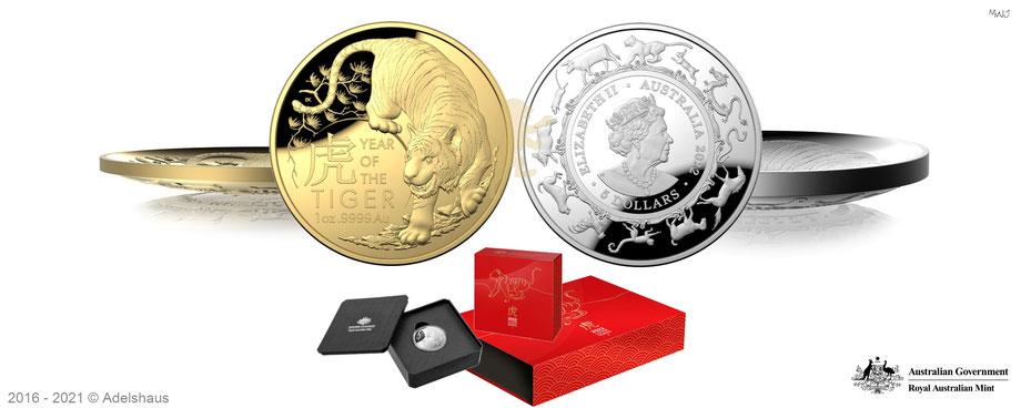 1 unze gold, 1 unze silber, royal australian mint, lunar, tiger, 2022, gold und silbermünzen, satz, adelshaus