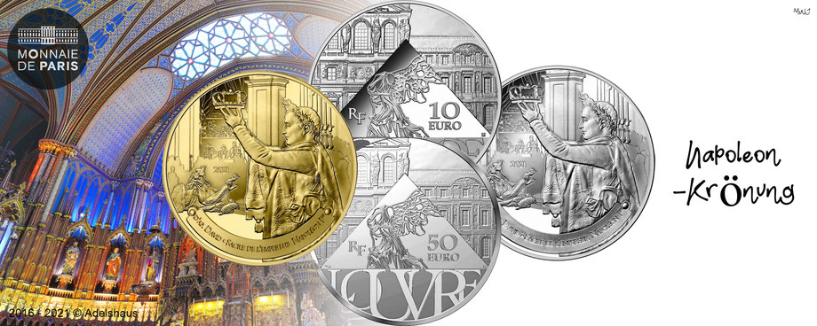 monnaie de paris euro frankreich 2021 napoleon louvre krönung 2021 gold silber  münzen kaufen adelshaus
