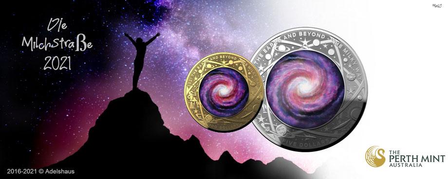 perth mint 2021, milky way, milchstrasse gold, milchstraße silber,2021, sammlermünzen, adelshaus