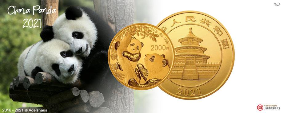 China Panda 2021 Gold Goldmünzen  edelmetalle  adelshaus