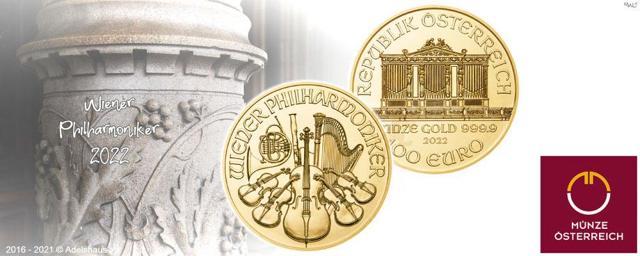 wiener philharmoniker gold 2021 münze österreich goldmünzen  edelmetalle  adelshaus