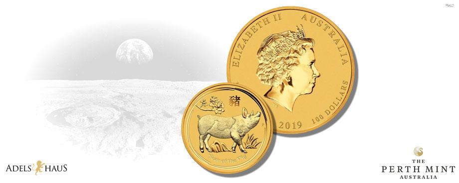 Lunar II Schwein Gold 2019 Goldmünze Adelshaus gold fein australien