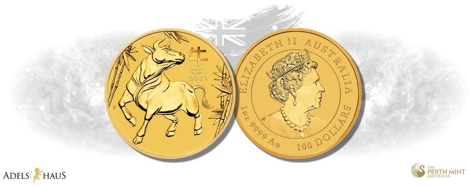 lunar australien 2021 ochse ox gold silber silver coins münze  edelmetalle adelshaus