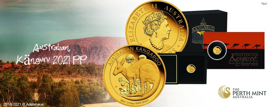 känguru 2021 gold coins münzen polierte platte perth minth adelshaus adels-haus