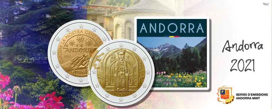 andorra, euromünzen, 2 euro, blister,coincard, 2021, gedenkmünzen, lady of meritxell, senioren, old population
