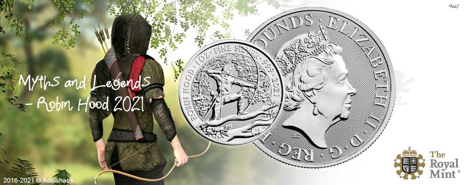 neu new issue myth and legends robin hood gold silver silber anlagemünzen 2021 royal mint goldmünzen silbermünzen adelshaus adels-haus