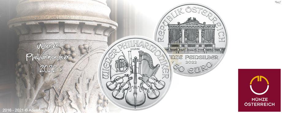wiener philharmoniker, silbermünzen,  2021,2022, 1 Unze,adelshaus, silber kaufen, silber preis, adels-haus, feinsilber, münze österreich,
