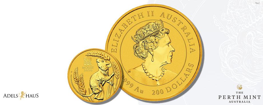 australien ,2020, perth mint, lunar 3 serie, gold ,jahr der maus, goldmünzen ,adelshaus, 1 unze