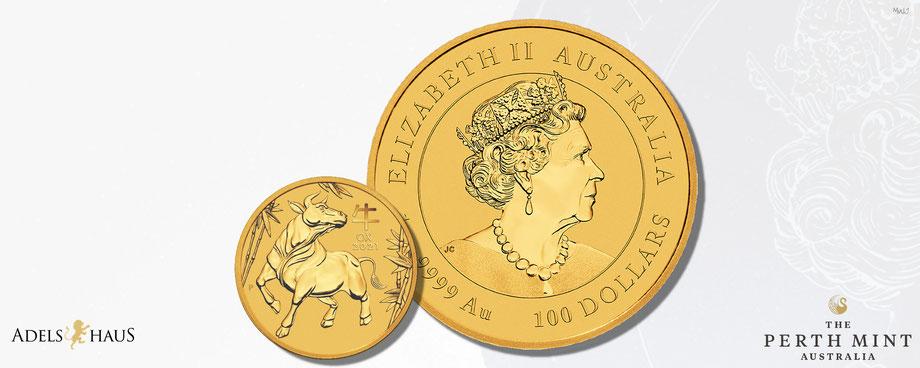 ox, australien, perth mint, lunar 3, gold, jahr des ochse 2021,  10 unzen gold Goldmünze, goldmünzen, coins, edelmetalle, adelshaus, gold kaufen