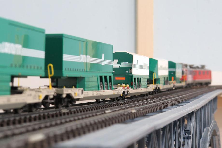 Video H0 Modelleisenbahnanlage Güterzüge Lannutti BLS SBB T.T.S. m-real stahl gerlafingen Bietschatalbrücke