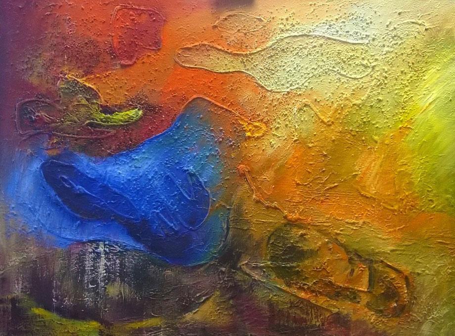 Ecologische voetafdruk  -  Olieverf op doek  80 x 60 cm