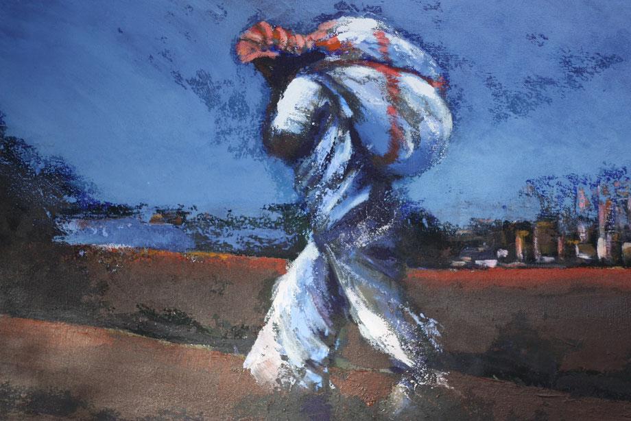 Nachtvlucht - acryl op doek 140 x 90 cm