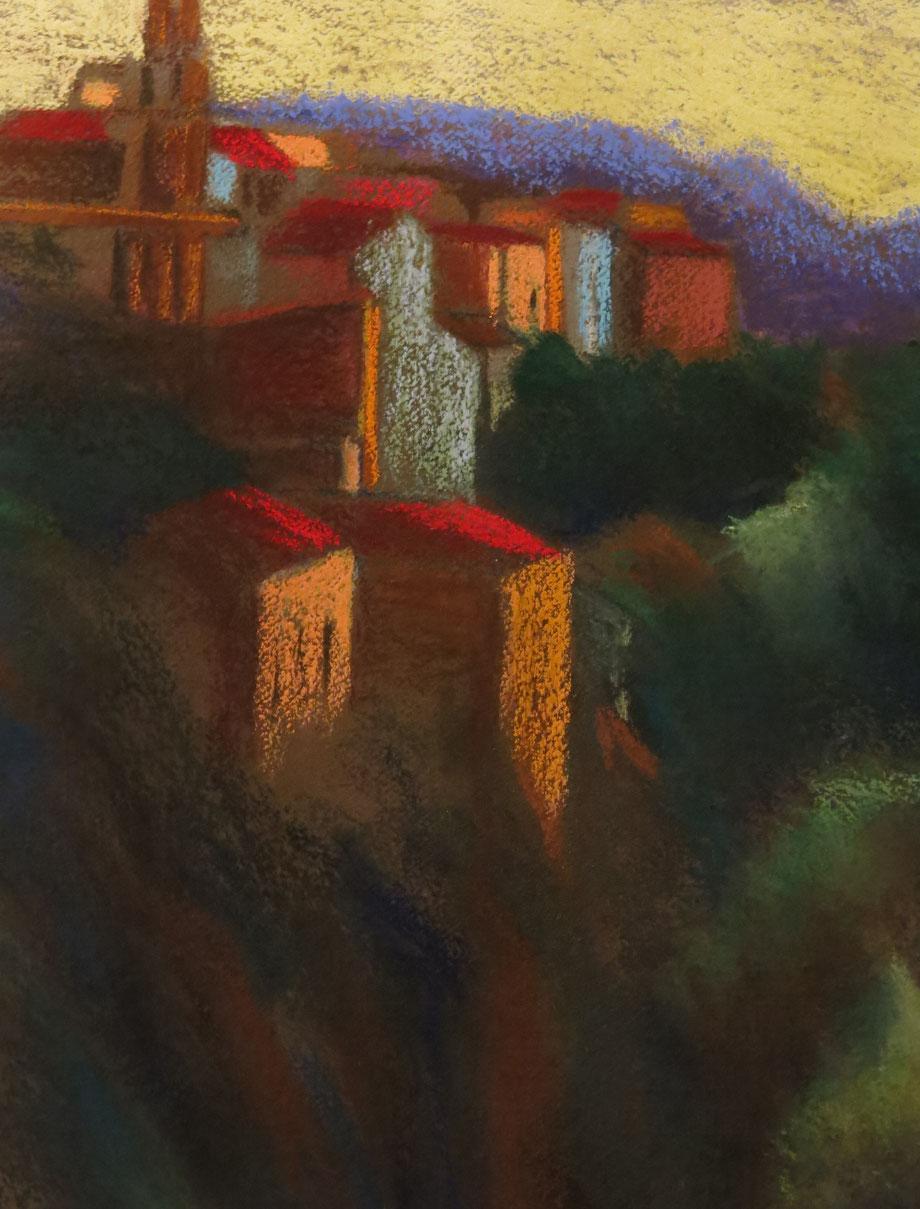 Italiaans dorp, pastel, 55 x 76
