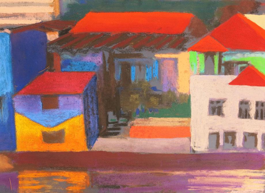Kleurrijk dorp aan het water, pastel,