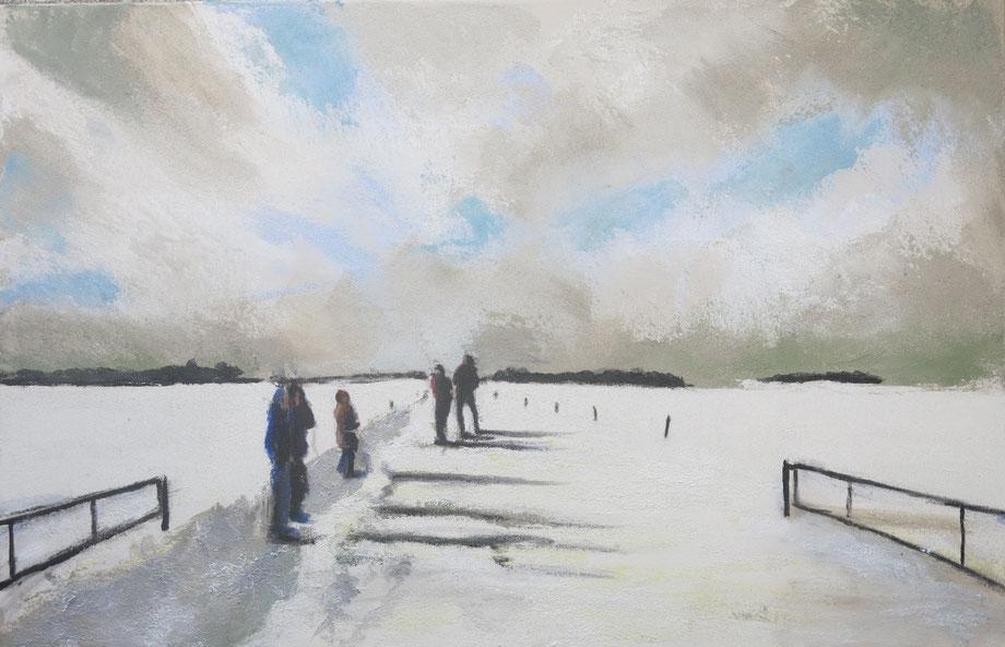 Mensen in de sneeuw  - Acryl 70 x 100 cm